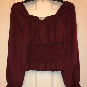 Ruched waist and sleeve mauve wine colored blouse